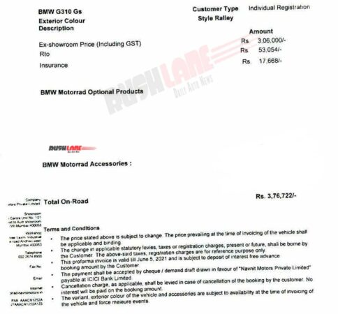 BMW G310 GS On Road Price Aug 2021