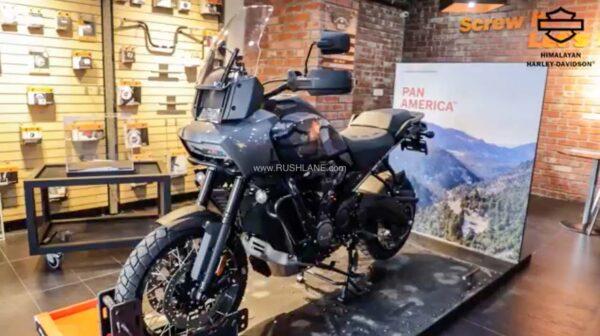 Harley Davidson Pan America at dealership in Chandigarh