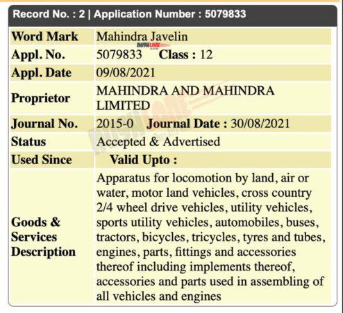 Mahindra Javelin Name Trademark