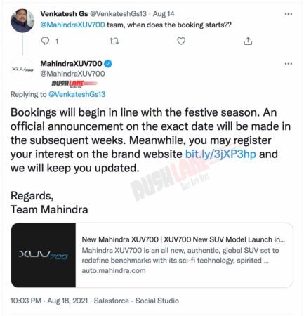 Mahindra XUV700 Official Bookings Update