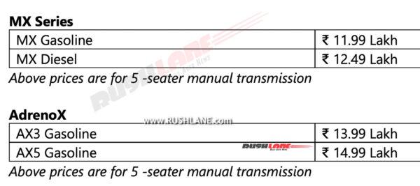 Mahindra XUV700 Prices