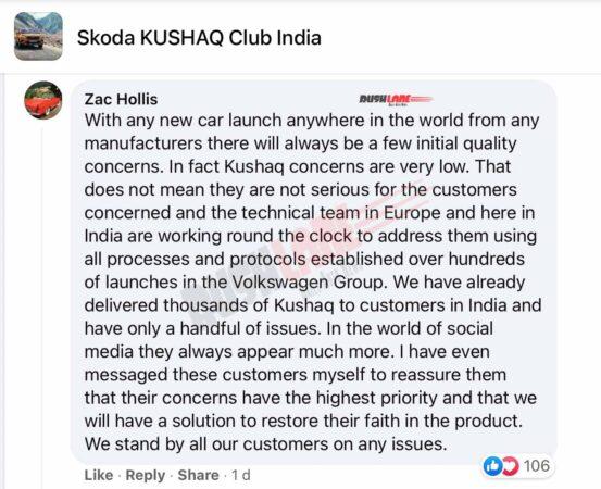 Skoda India Brand Director, Zack Hollis assures Kushak owners