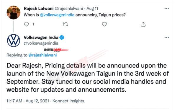 New Volkswagen Taigun for India