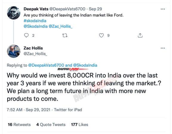 Skoda has no plans to exit India