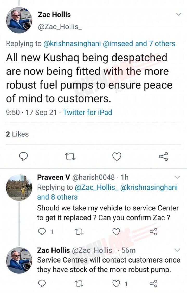 Skoda Kushaq gets updated fuel pump