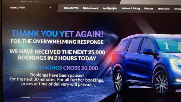 2nd batch of 25k units of Mahindra XUV700 sold out in 2 hours
