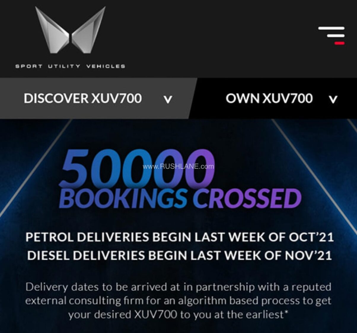 Mahindra XUV700 Delivery Details